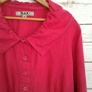Flax Dresses - FLAX Raspberry Pink Linen Dress Bubble Collar